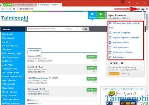 Chụp nội dung trang web trên trình duyệt Cốc Cốc