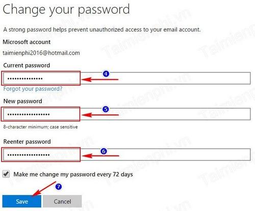 Đổi mật khẩu Hotmail, thay pass tài khoản Hotmail