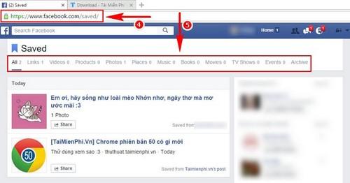 Cách lưu bài viết, liên kết trên Facebook