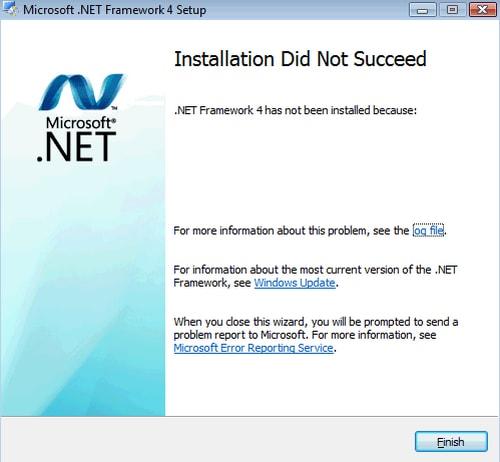 sua loi installation did not succeed khi cai net framework