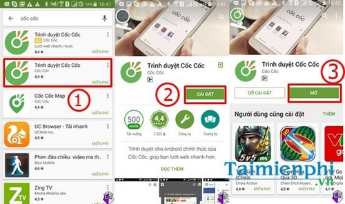 cai dat su dung trinh duyet coc coc tren android
