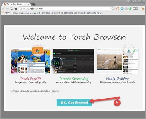 Cài Torch Browser trên máy tính, duyệt web, vào Facebook khi bị chặn