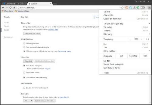 Đổi ngôn ngữ trình duyệt Torch Browser