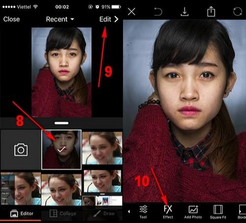 Làm mịn da bằng PicsArt trên iPhone