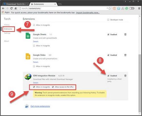 Tải video Youtube, Facebook trên Torch Browser bằng IDM