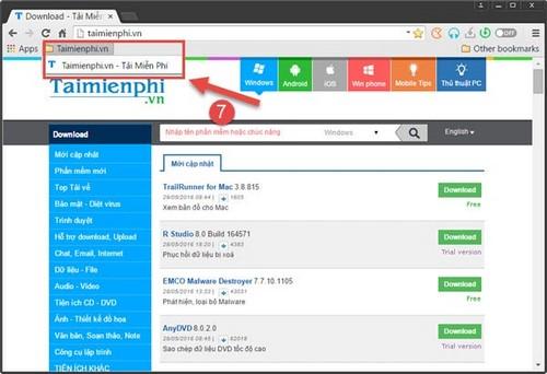 Tạo bookmark trên trình duyệt Torch Browser