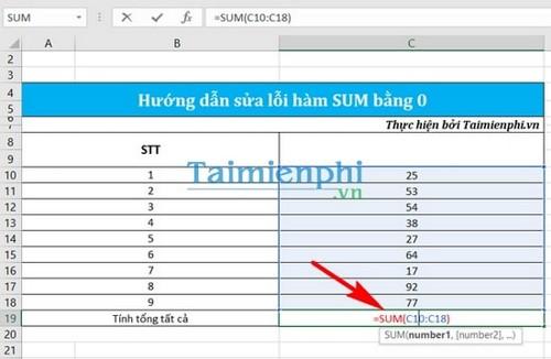Sửa lỗi hàm sum bằng 0 trong Excel 6