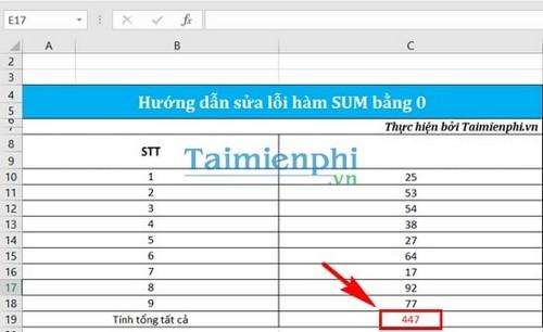 Sửa lỗi hàm sum bằng 0 trong Excel 7