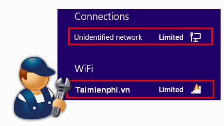 dua loi limited khong vao duoc wifi