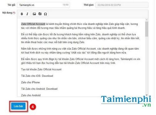 Cách đăng bài trên Zalo Page 5