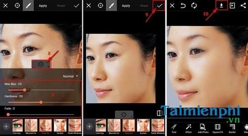 Làm mịn da bằng PicsArt trên điện thoại Android
