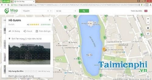 Tìm kiếm danh lam thắng cảnh trên Cốc Cốc Map