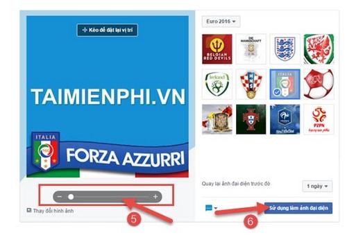 Chèn logo đội bóng Euro 2016 vào ảnh đại diện Facebook