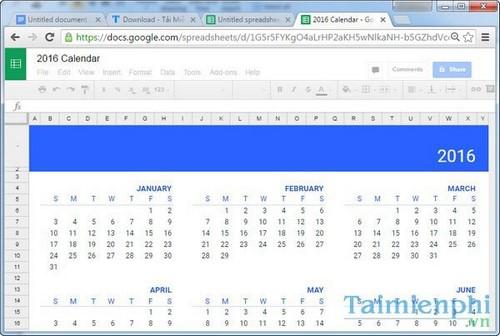 Chèn Template trong Google sheets