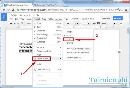Giãn dòng trong Google Docs, cách giãn chữ, giãn khoảng cách dòng