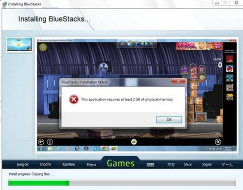 loi bluestacks this application requires at least 2 gb