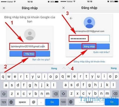 dang nhap gmail tren dien thoai iphone