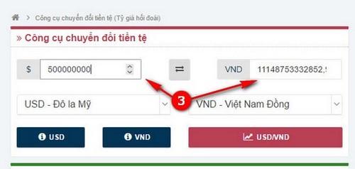 500 triệu usd bằng bao nhiêu tiền Việt Nam, 500 million usd = vietnam