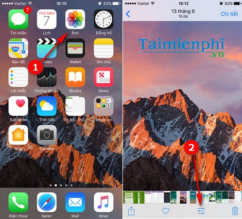 cach chinh sua anh trong ios 10