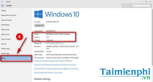 Kiểm tra phiên bản Windows 10 đã cài đặt trên máy tính 5