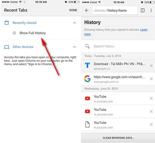 Khôi phục Tab Google Chrome vừa đóng trên điện thoại