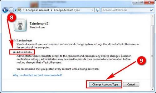 Phân quyền Admin cho User trong Win 7. 8.1, 10 7
