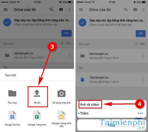 Tải file lên Google Drive trên iPhone, Android