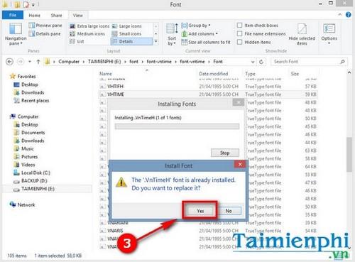 guide vntimeh font and vntime font on laptop computer