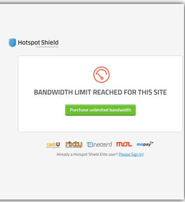 sua loi bandwidth limit reached for this site trong hotspot shield