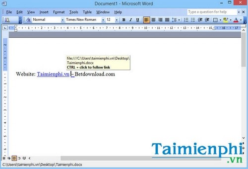 Cách tạo liên kết Hyperlink trong văn bản Word 5