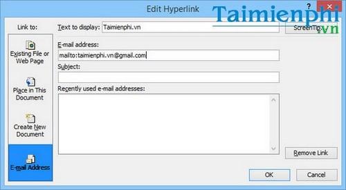 Cách tạo liên kết Hyperlink trong văn bản Word 7