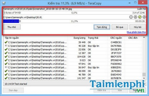How to automatically check data after copying on teracopy