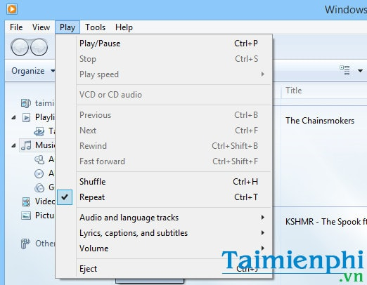 Shortcut key for windows media player
