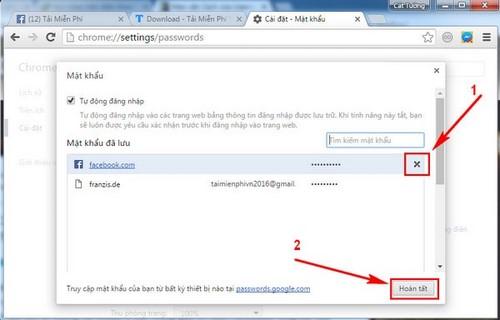 Cách xóa tài khoản Facebook trên Chrome, Cốc Cốc, Firefox