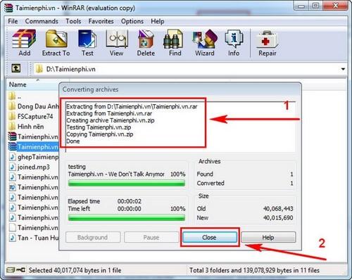 Chuyển file RAR sang ZIP trong Winrar