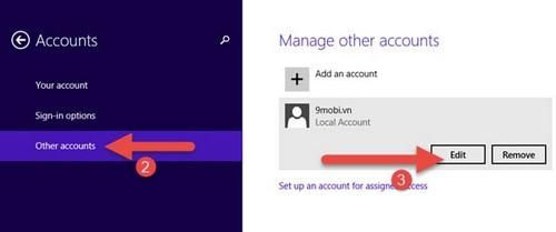Phân quyền Admin cho User trong Win 7. 8.1, 10 9