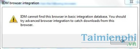 Sửa lỗi IDM cannot find this browser in basic integration database