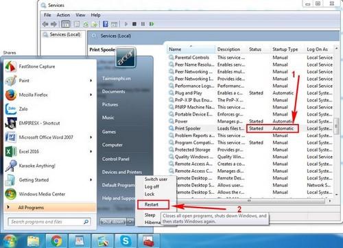 Sửa lỗi The print spooler service is not running trên Windows 10, 8.1,