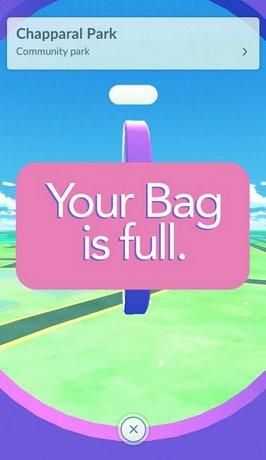 sua loi your bag is full khi nhan do o pokestop