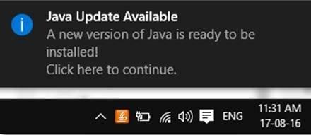 tat thong bao java update tren windows 10