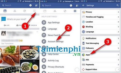 cach xoa ung dung lien ket tren Facebook cho android