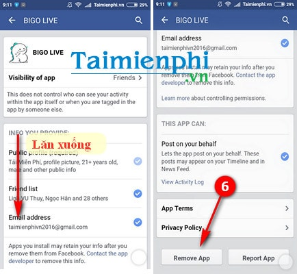 Remove the connection app on Facebook for android