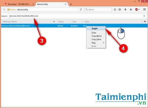 Cách tắt thông báo đặt trình duyệt mặc định khi mở Firefox