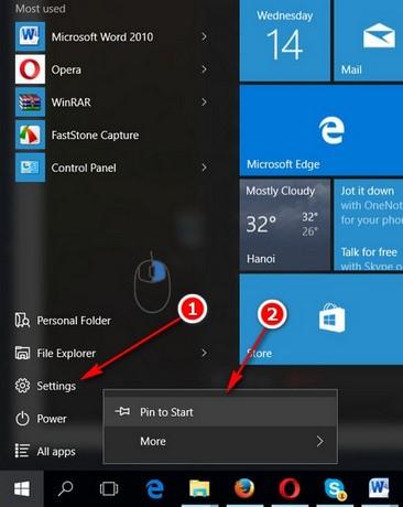 cach truy cap settings tren windows 10