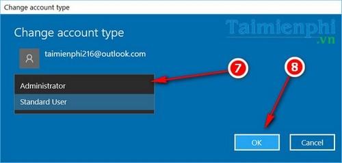 Chuyển quyền quản trị, set quyền admin tài khoản người dùng trên Windows 10 4