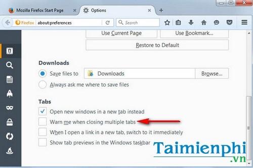 Tạo cảnh báo đóng nhiều tab trên trình duyệt web Firefox