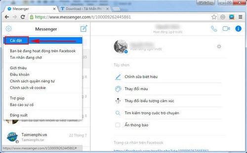 Tắt âm thanh Facebook Messenger trên máy tính
