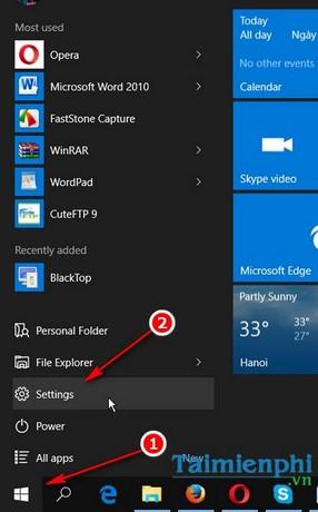 thay doi mau sac taskbar tren windows 10
