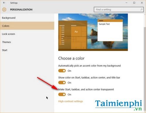 Thay đổi màu sắc, làm trong suốt Taskbar trên Windows 10 6