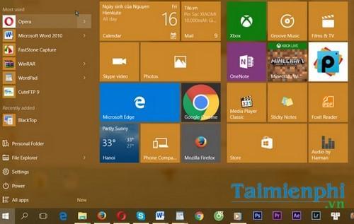 Thay đổi màu sắc, làm trong suốt Taskbar trên Windows 10 5